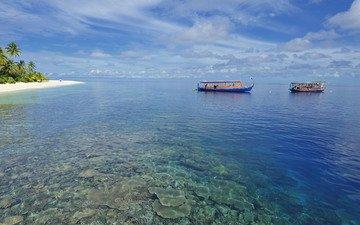 пляж, лодки, тропики, мальдивы