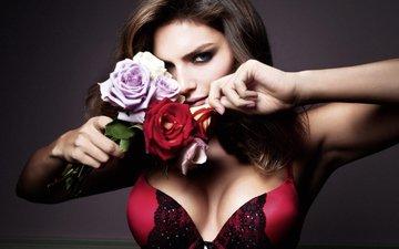 цветы, девушка, портрет, розы, взгляд, модель, грудь, волосы, лицо, бюстгальтер, алисса миллер, американская модель, 1990 г.р.