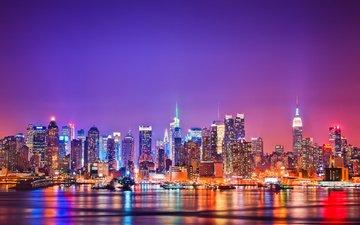 ночь, огни, город, сша, нью-йорк, манхэттен