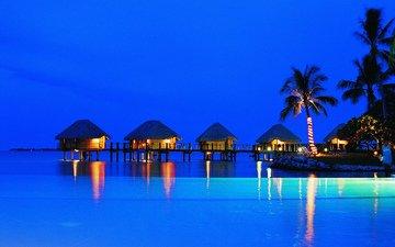 острова, пальмы, океан, отдых, бунгало, французская полинезия, пляж жемчуга манихи