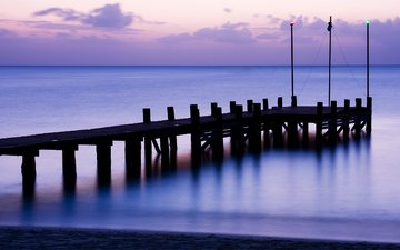 the sky, clouds, the evening, the bridge, sea, pierce, calm, twilight, surface, lilac, wooden