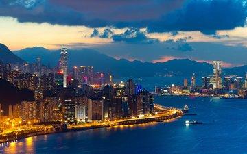 огни, вечер, город, китай, здания, сумерки, гонконг