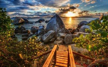 небо, облака, камни, листья, закат, море, кусты, побережье, испания