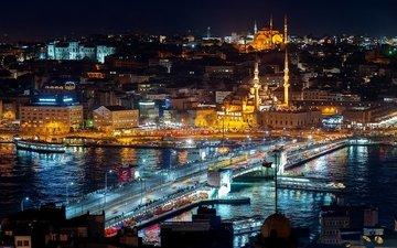 ночь, огни, пейзаж, город, движение, турция, мечеть, стамбул, босфор, галатская башня