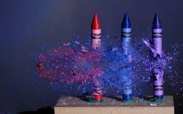 полет, карандаши, движение, осколки, цветные, пуля, мелки, частицы