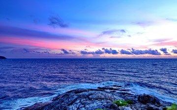 облака, камни, море, рассвет, побережье, таиланд, волны скалы