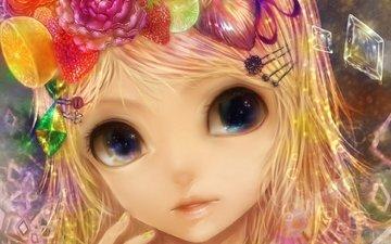 глаза, цветы, арт, девушка, фрукты, лимон, вокалоид, kagamine rin, заколки