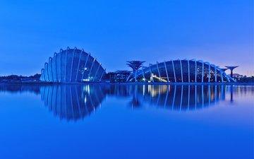 огни, вечер, отражение, мегаполис, залив, подсветка, малайзия, сингапур