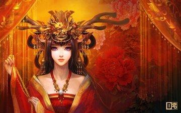 цветы, арт, украшения, девушка, взгляд, прическа, вертикальные зрачки