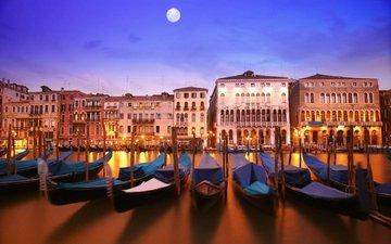 лодки, венеция, канал, италия, здания, гондольеры