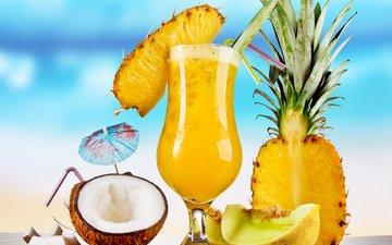 бокал, коктейль, напитки, кокос, ананас, дыня, тропический коктейль