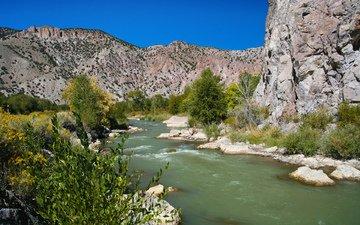 деревья, река, горы, природа, кусты, сша, штат юта, национальный парк брайс-каньон