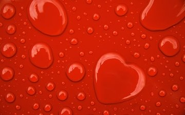 water, background, drops, red, heart