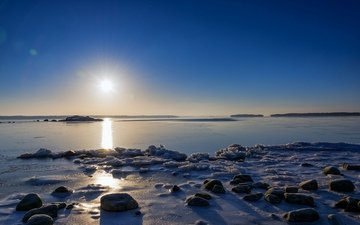 sunrise, stones, morning, finland, the baltic sea