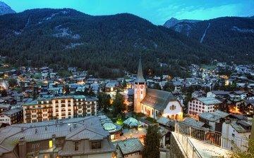 горы, пейзаж, панорама, швейцария, дома, здания, костел, церматт