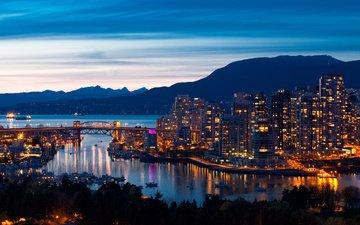 небо, вечер, горы, море, корабли, мост, дома, ванкувер, канада, порт