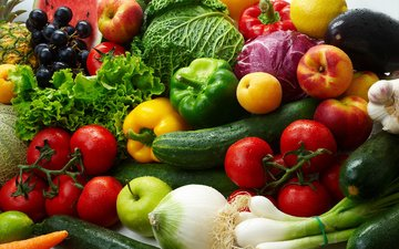 виноград, фрукты, яблоки, лимон, лук, овощи, баклажан, помидоры, капуста, салат, абрикосы, огурцы, паприка, нектарины, цуккини