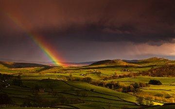 небо, холмы, поля, радуга, дома, англия, весна