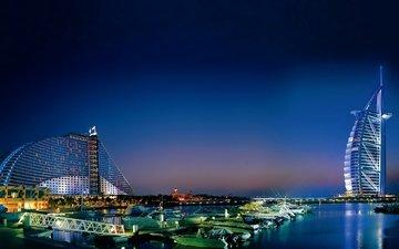 пляж, яхты, город, пристань, катера, бухта, ночной, дубай, оаэ, hotel, jumeirah