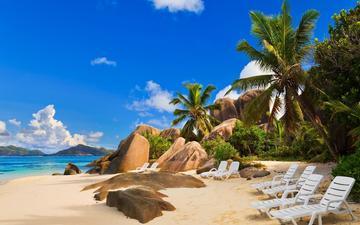 пляж, пальмы, тропики, сейшелы