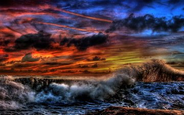 wave, sunset, clouds, sea, the storm, storm