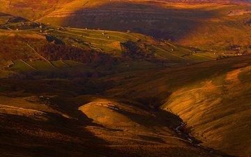 свет, поля, дома, англия, долина