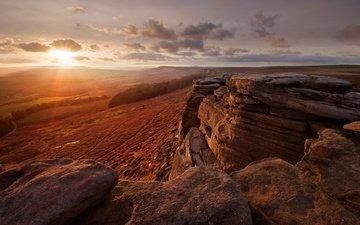 небо, солнце, камни, лучи, англия, долина