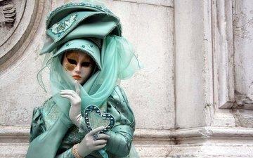 девушка, маска, город, венеция, костюм, тайна, бал, маскарад