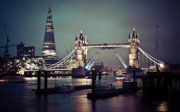 огни, вода, корабли, лондон, англия, тауэрский мост