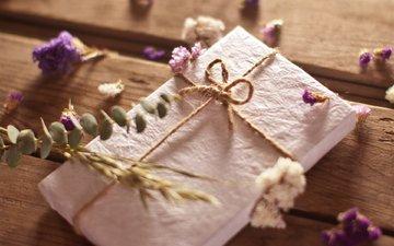 цветы, растения, доски, веревка, подарок, полевые, открытка