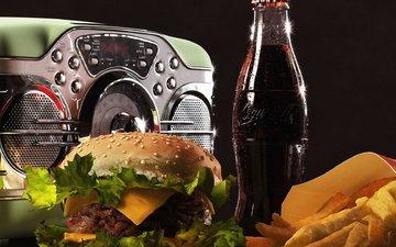 гамбургер, натюрморт, кока-кола, радио, радиоприёмник, жареная картошка