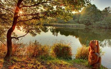 деревья, река, природа, берег, отражение, осень, статуэтка, русалка, фигурка, деревянная