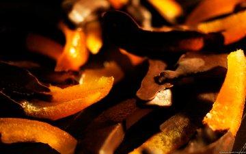 макро, апельсин, шоколад, кусочки, цедра