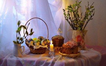 свеча, пасха, яйца, праздник, корзинка, верба, кулич