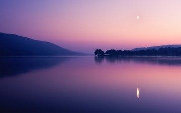 небо, деревья, вечер, озеро, горы, закат, отражение, сумерки, водная гладь