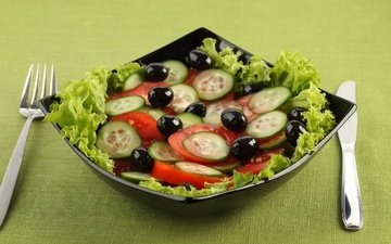 plug, knife, plate, tomatoes, salad, olives, cucumbers