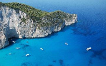 природа, яхты, гора, остров, греция, парусники