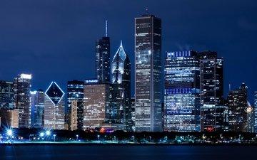ночь, река, город, небоскребы, дома, сша, здания, иллинойс, высотки, чикаго