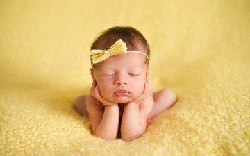 sleep, children, girl, baby, bow