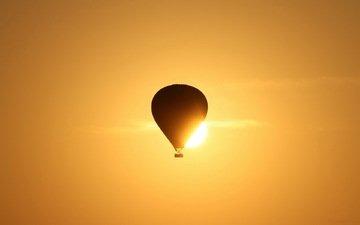 небо, солнце, природа, воздушный шар
