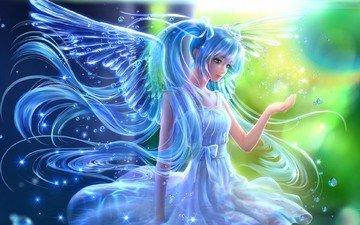 арт, девушка, фэнтези, крылья, ангел, под водой, вокалоид, пузырьки, хацунэ мику