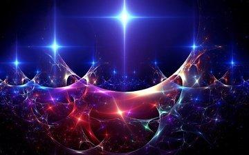 абстракция, волны, цвет, разноцветный, блеск, искры, огоньки, яркий, 3д