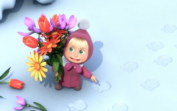 flowers, snow, cartoon, traces, masha and the bear