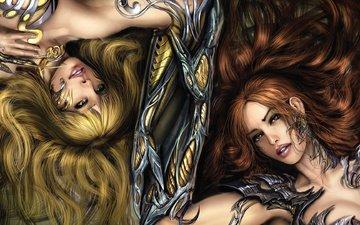 арт, поза, девушки, когти, лежат, доспехи, witchblade