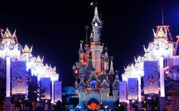 замок, париж, франция, диснейленд, christmas lights, франци, елочная