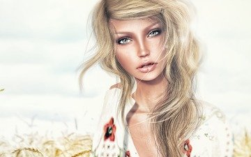 арт, рисунок, блондинка, взгляд, голубые глаза, девушка модель