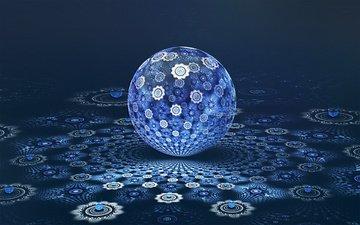 абстракция, сфера, фрактал, 3д, шар.синий