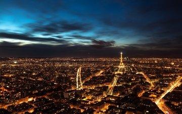 небо, ночь, панорама, париж, ночной город, франция, с высоты птичьего полета