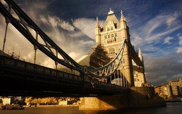 река, лондон, город, англия, тауэрский мост