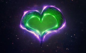 абстракция, цвет, сердце, любовь, 3д, цифровое искусство